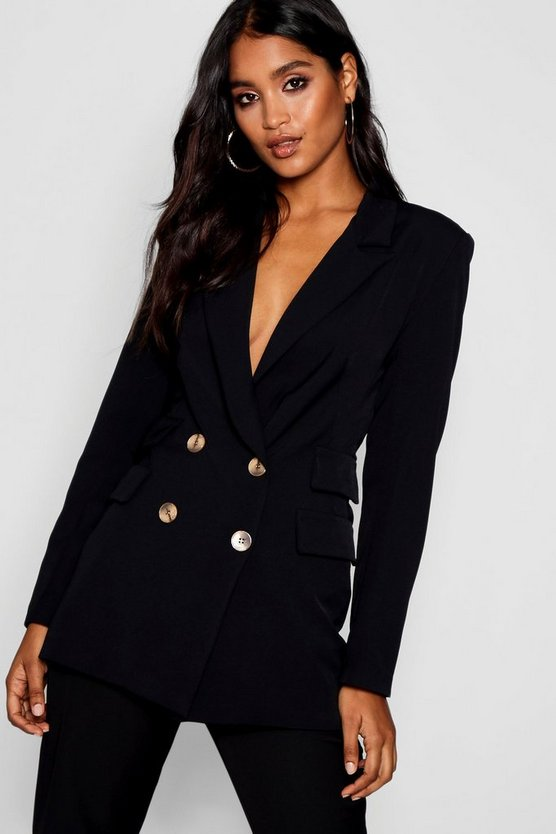 Leah Double Pockets Double Breasted Blazer