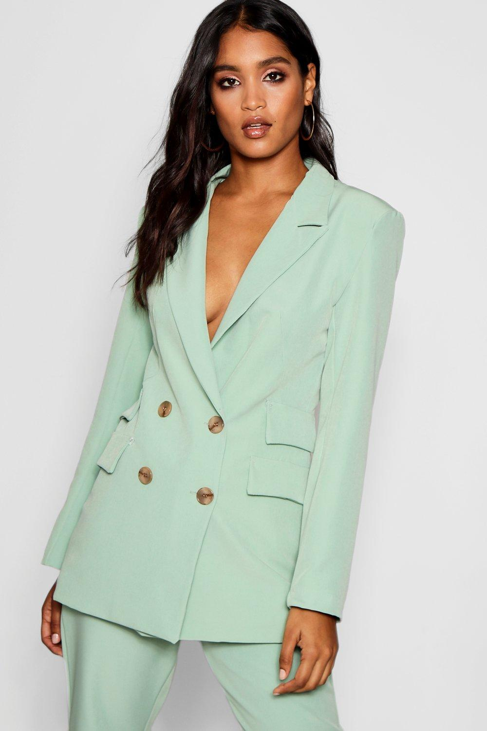 Blazer Pockets sage Double Double Breasted wHqpxAt