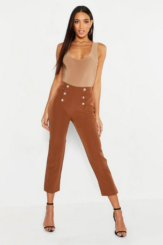 Military Button Detail Tapered Trouser, Chocolate, Donna