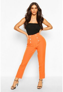 Orange Military Button Detail Tapered Pants