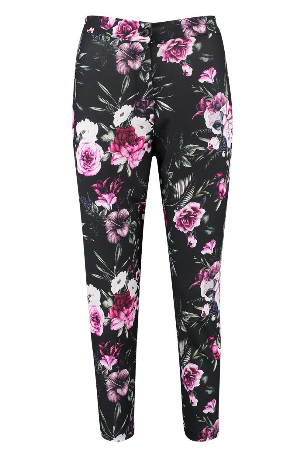 Abigail Based black Floral Pink Tapered Trouser B8xBrqP