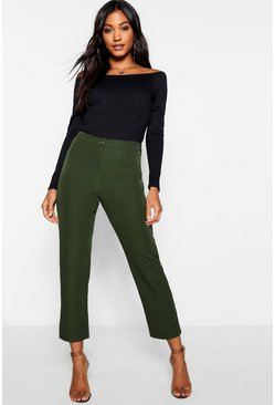 Womens Khaki Skinny Tapered Straight Leg Trouser