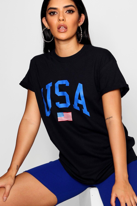 Slogan USA black Shirt T black USA Slogan USA T Shirt ZqwXHqxBIc