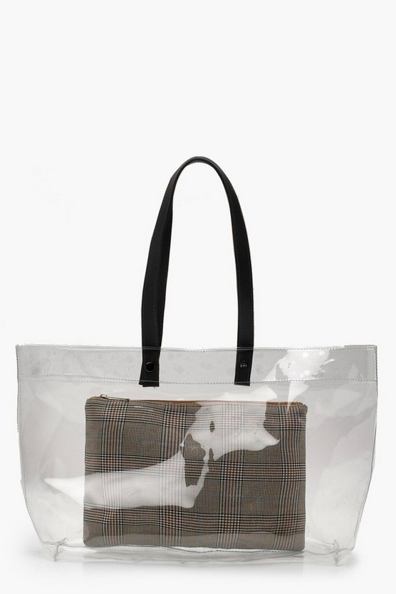 Womens Clear Clear Shopper & Removable Check Clutch