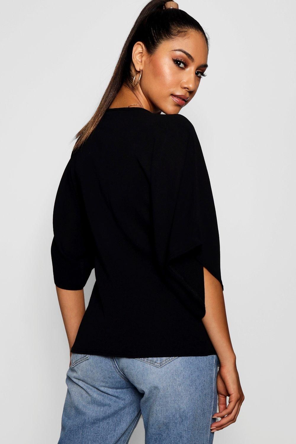 ivory Neck V Twist Blouse Front Knot HnwUzqzp