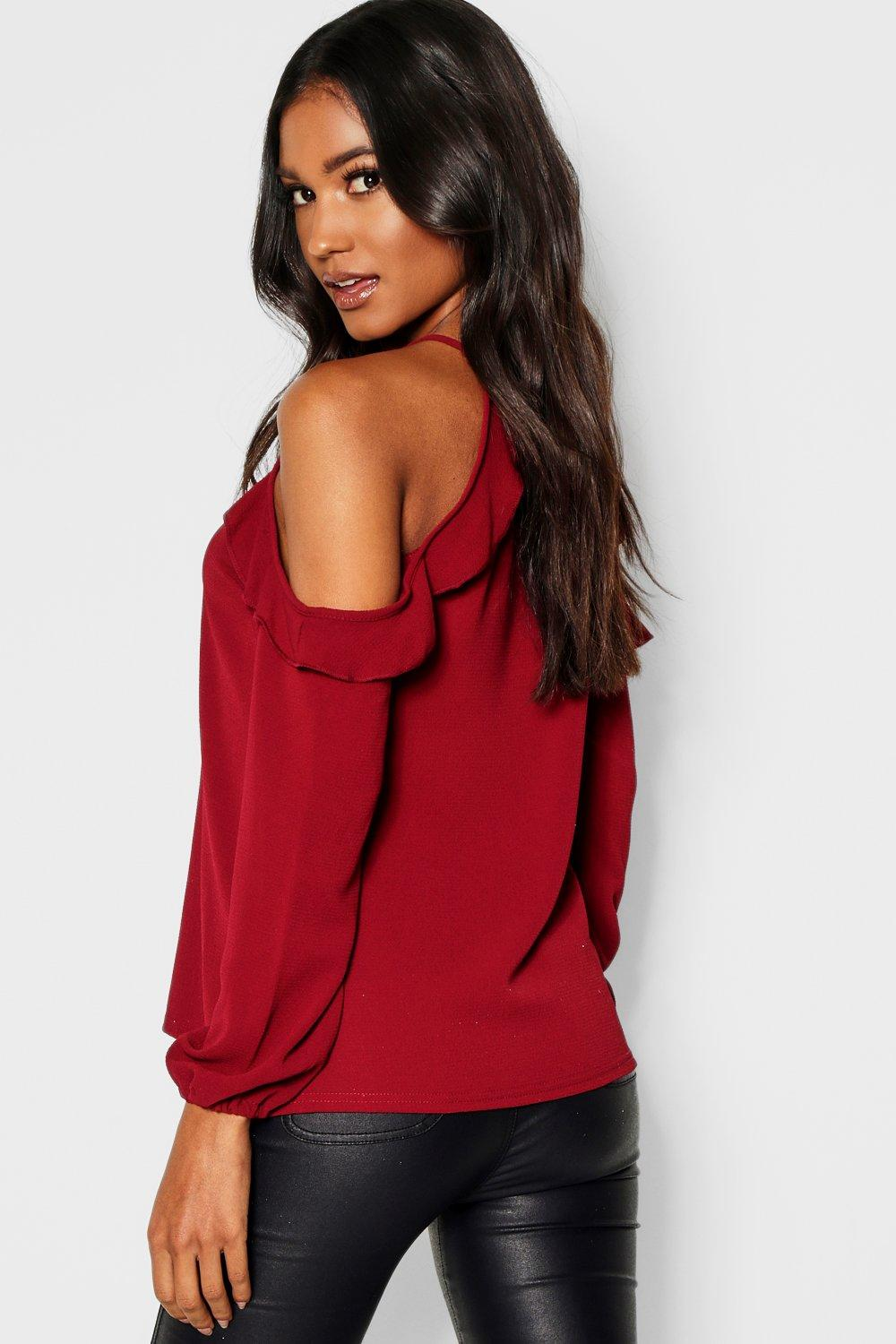 Sleeve Long Cold berry Ruffle Blouse Shoulder qx6OdEwRn
