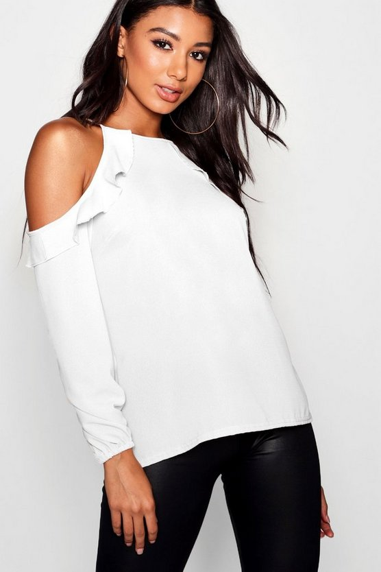 Ruffle Cold Shoulder Long Sleeve Blouse