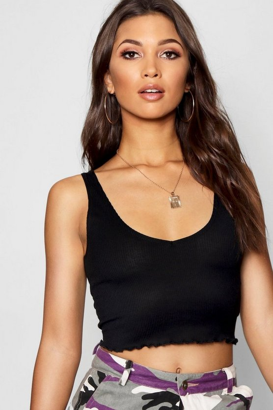 Womens Black Lettuce Hem V Neck Crop Top