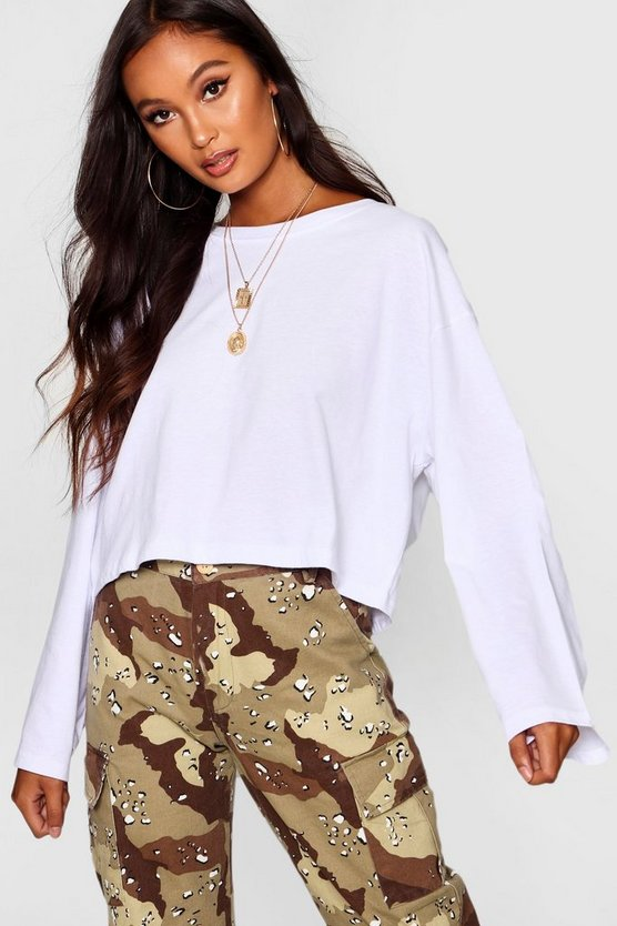 Womens White Oversized Drop Arm Long Sleeve Top