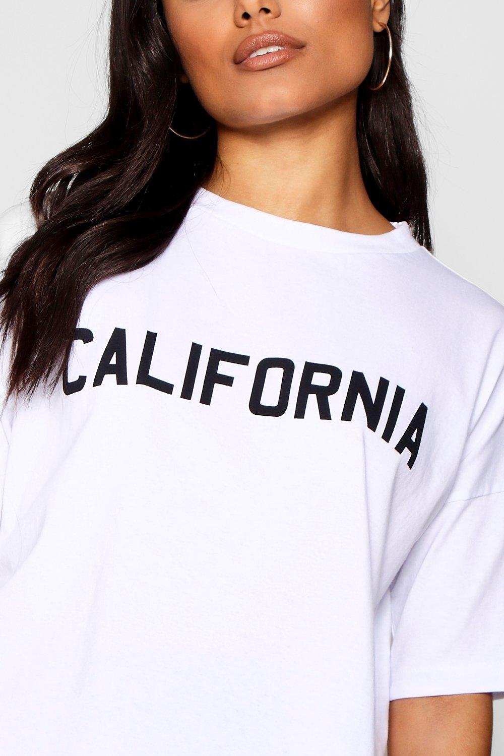 Crop Shirt T Slogan white California Boxy Mia B7axWAOnX