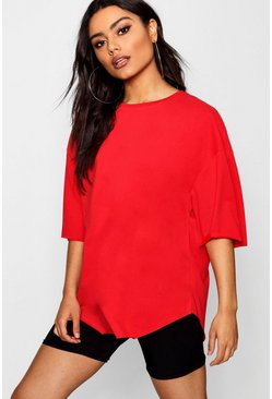 Womens Red Supersoft Oversized T-Shirt