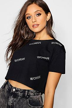 Diamante Woman Crop T-Shirt