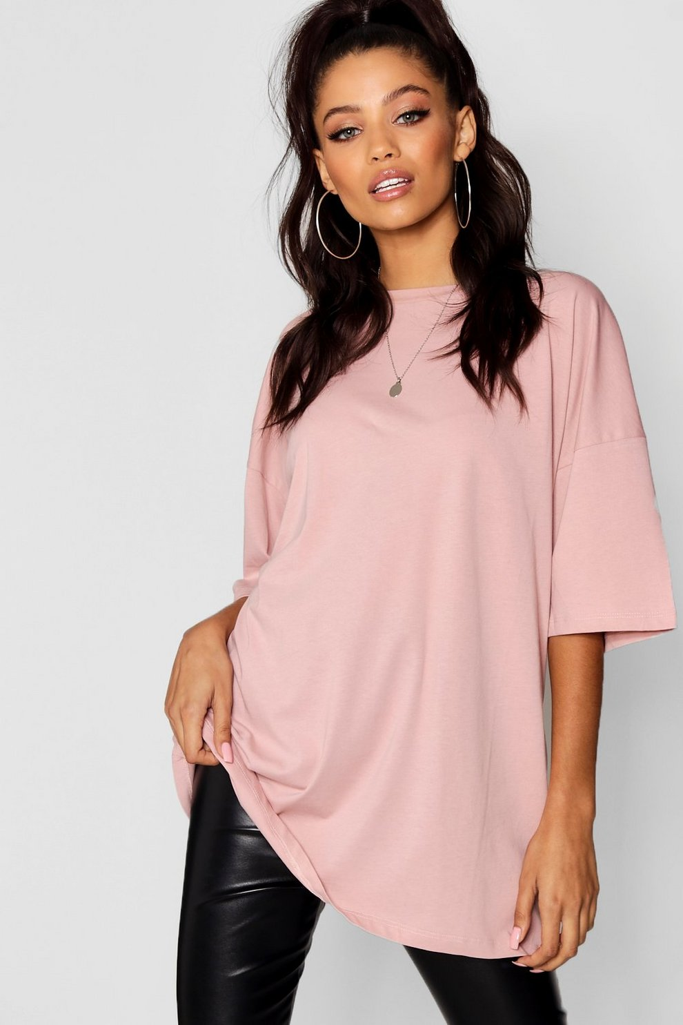06cdcece Womens Baby pink Basic Washed Oversized T-Shirt. Hover to zoom