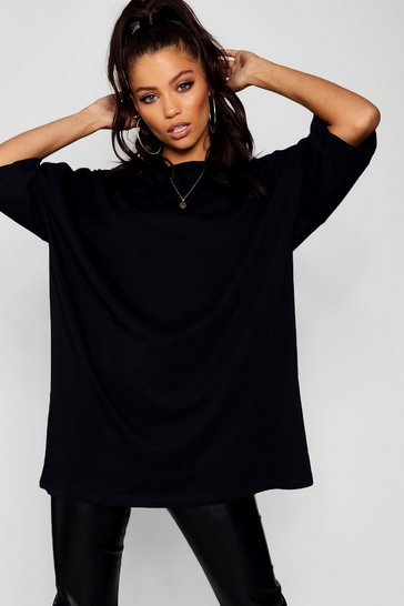 Womens Black Basic Washed Oversized T-Shirt