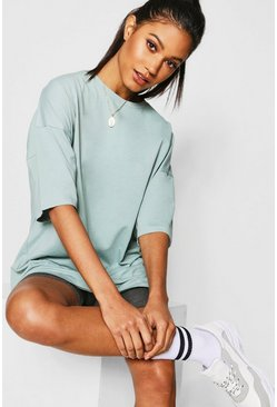 Womens Mint Basic Washed Oversized T-Shirt