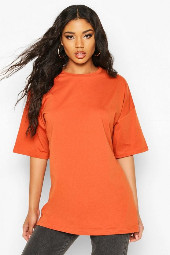 Terracotta Basic Washed Oversized T-Shirt