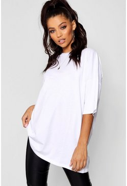 Womens White Basic Washed Oversized T-Shirt