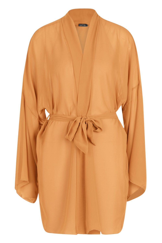 mustard Belted Chiffon Belted Belted mustard Kimono Kimono Chiffon Chiffon qwxPz