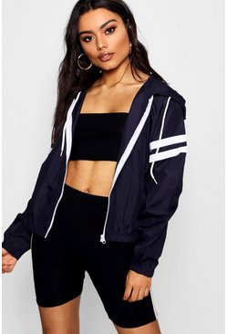 Womens Navy Faye Stripe Sleeve Windbreaker