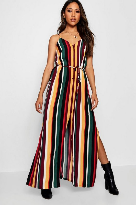 Womens Multi Hannah Striped Button Through Maxi Dress