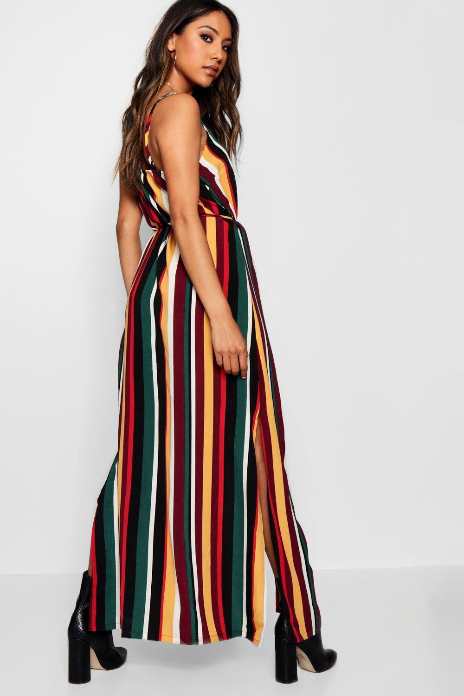 Hannah Dress Button Striped Through Maxi rIzr1qwg5