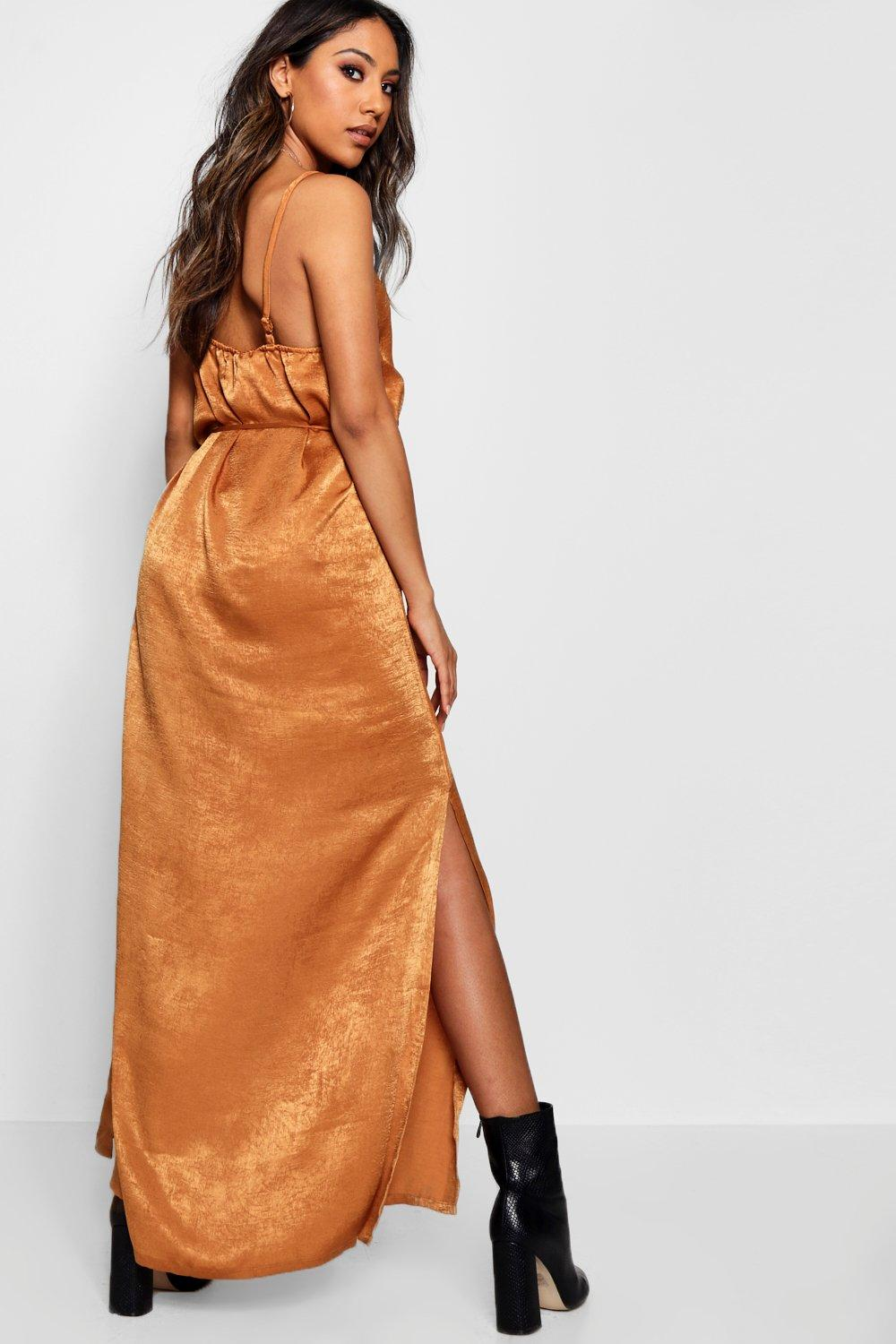 Button Dress Maxi Nicole Satin Hammered avwqZxYz