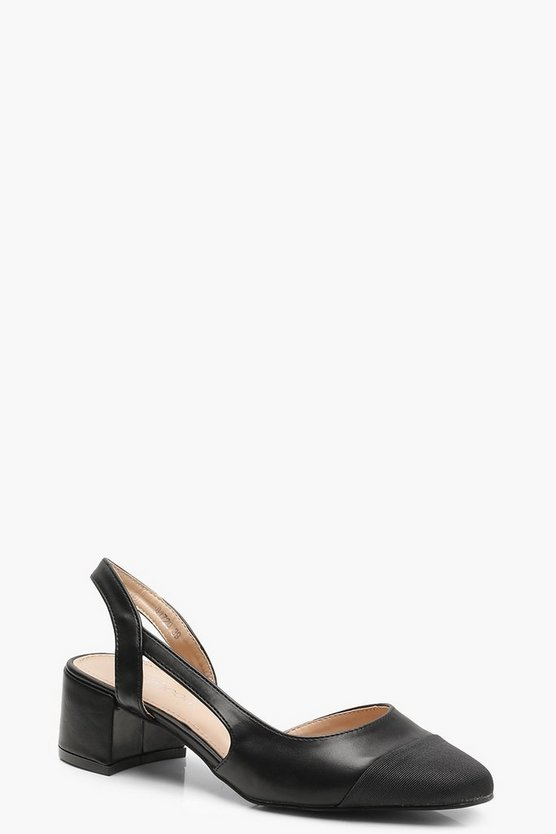 Sling Back Low Block Heel Ballets