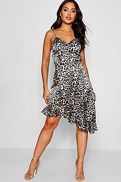 Aria Leopard Satin Frill Mini Slip Dress