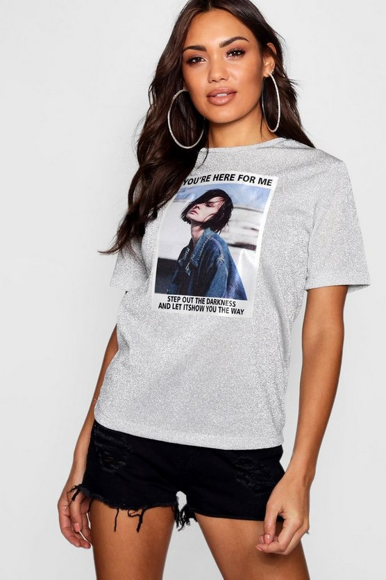 Metallic Girl Face T-Shirt