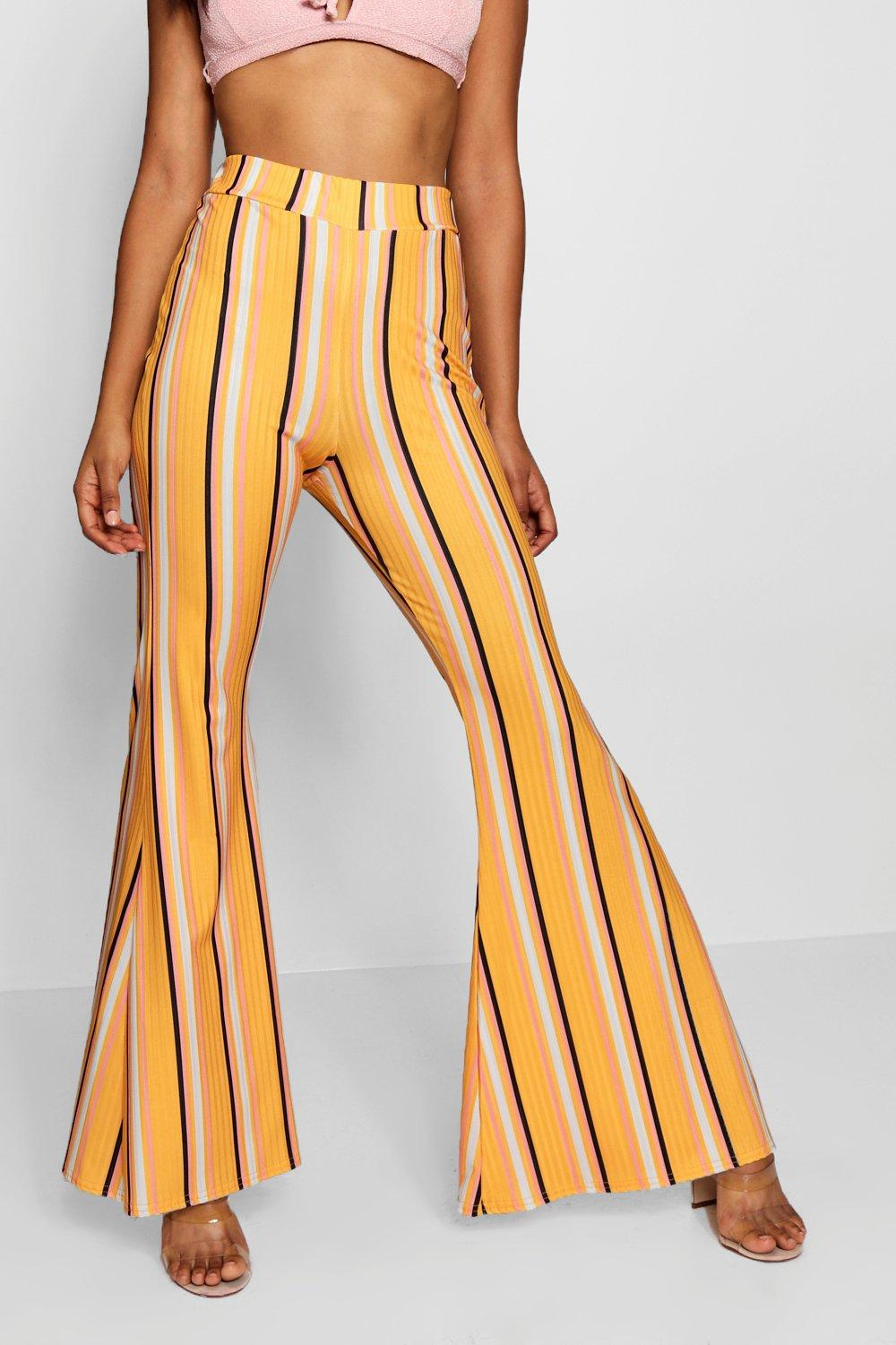 Stripe Leg High Wide Waist mustard Trouser 5W5xqrw8tS