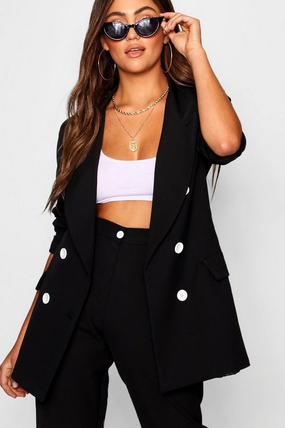 Double Breasted Blazer with Contrast Button