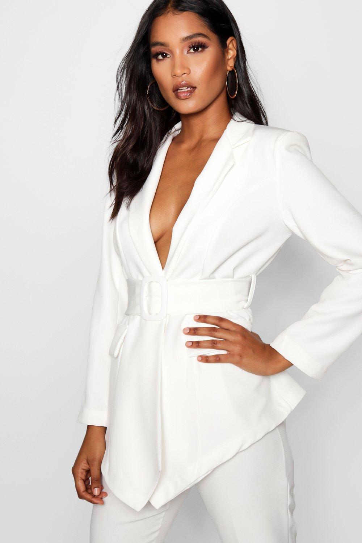 Front Wide white Belt V Blazer Josephine t6YwqY