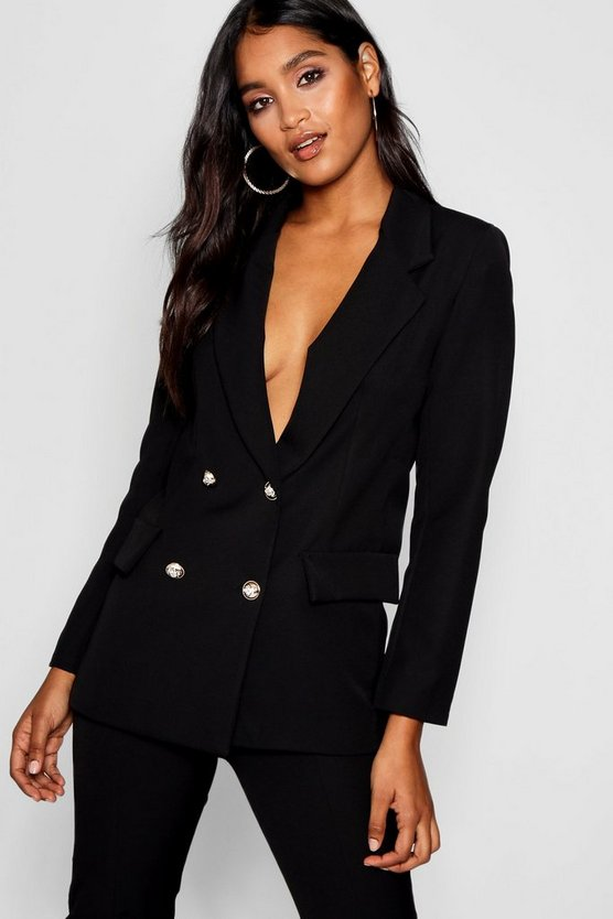 Womens Black Double Breasted Boxy Military Blazer