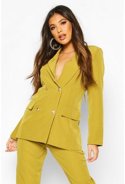 Chartreuse Double Breasted Boxy Military Blazer