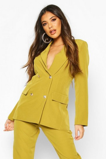 Womens Chartreuse Double Breasted Boxy Military Blazer