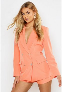 Womens Coral Double Breasted Boxy Military Blazer