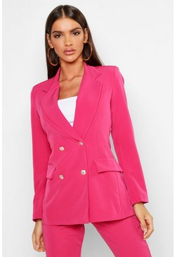 Hot pink Double Breasted Boxy Military Blazer