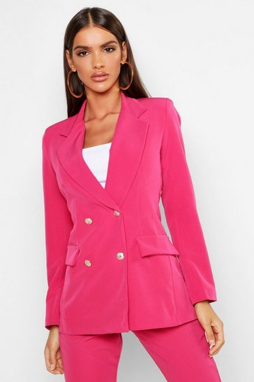 Womens Hot pink Double Breasted Boxy Military Blazer