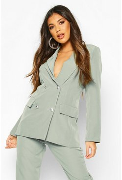 Womens Sage Double Breasted Boxy Military Blazer