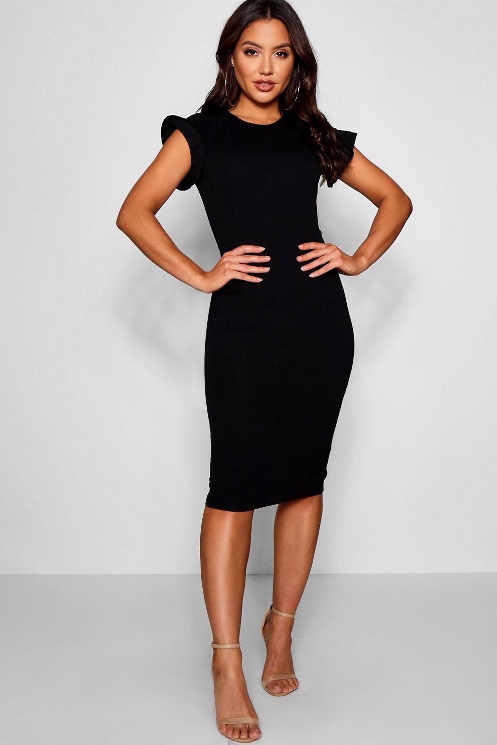 b92a6187c520 Lily Ruffle Tailored Midi Dress | Boohoo