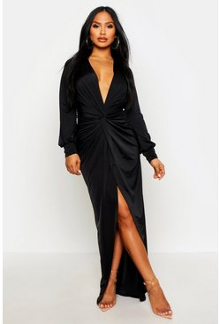 Daria Twist Front Plunge Slinky Maxi Dress, Black