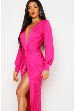 Womens Hot pink Daria Twist Front Plunge Slinky Maxi Dress