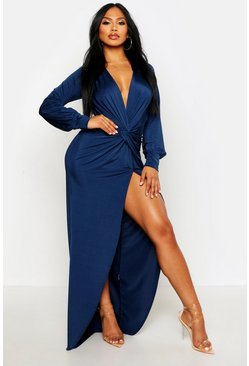 Navy Daria Twist Front Plunge Slinky Maxi Dress
