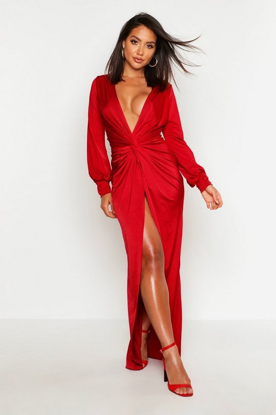 Red Daria Twist Front Plunge Slinky Maxi Dress