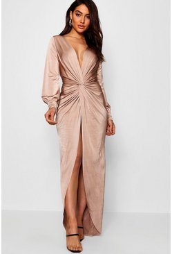 Womens Stone Daria Twist Front Plunge Slinky Maxi Dress