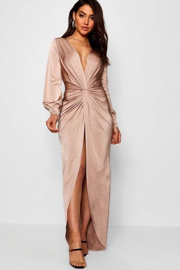Stone Daria Twist Front Plunge Slinky Maxi Dress