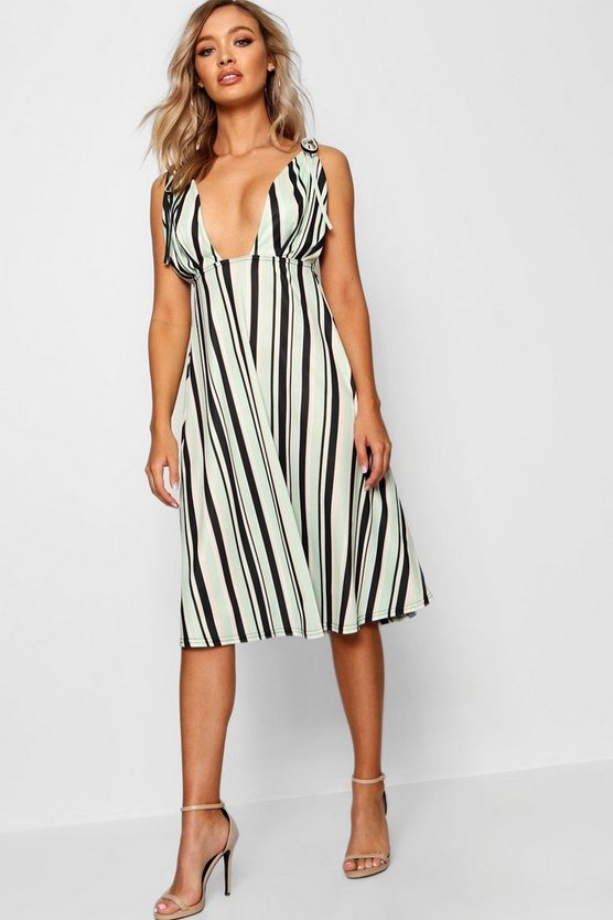 Taylor Stripe Tie Shoulder Midi Skater Dress