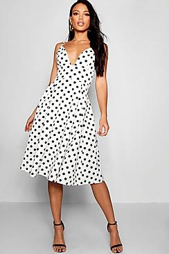 Polka Dot Dresses: 20s, 30s, 40s, 50s, 60s Elsa Polka Dot Scuba Frill Skirt Midi Skater Dress $50.00 AT vintagedancer.com