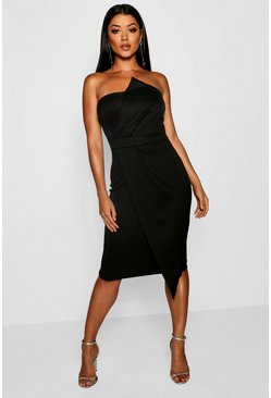 Womens Black Zoey Bandeau Wrap Detail Midi Dress