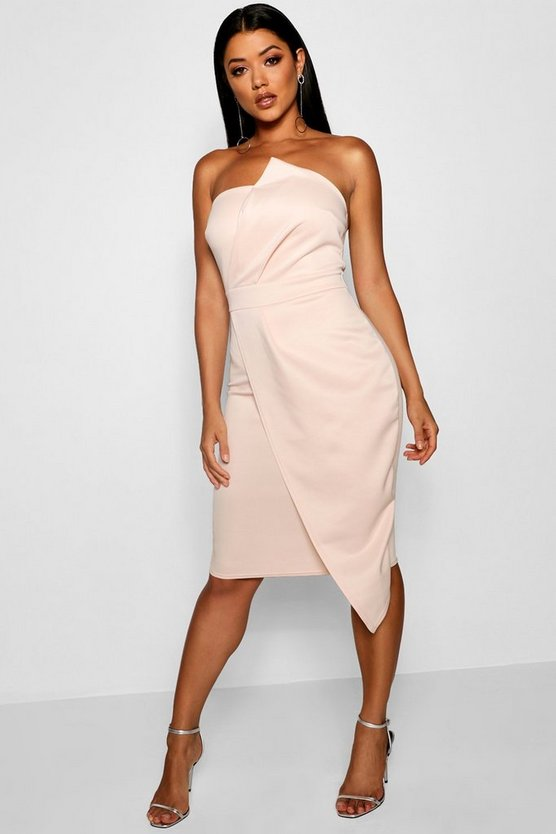 Womens Blush Zoey Bandeau Wrap Detail Midi Dress